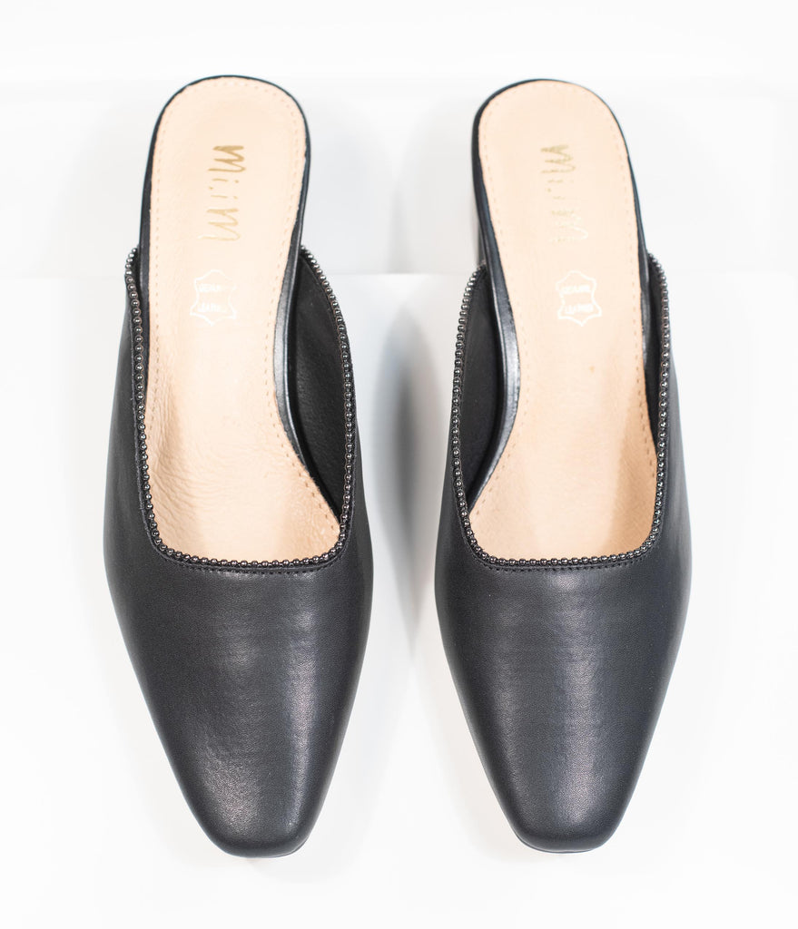 Black Leatherette Beaded Piping Pointed Toe Mule