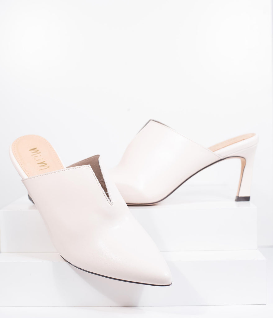 Retro Style Bone Ivory Leatherette Pointed Toe Kitten Heel Mule