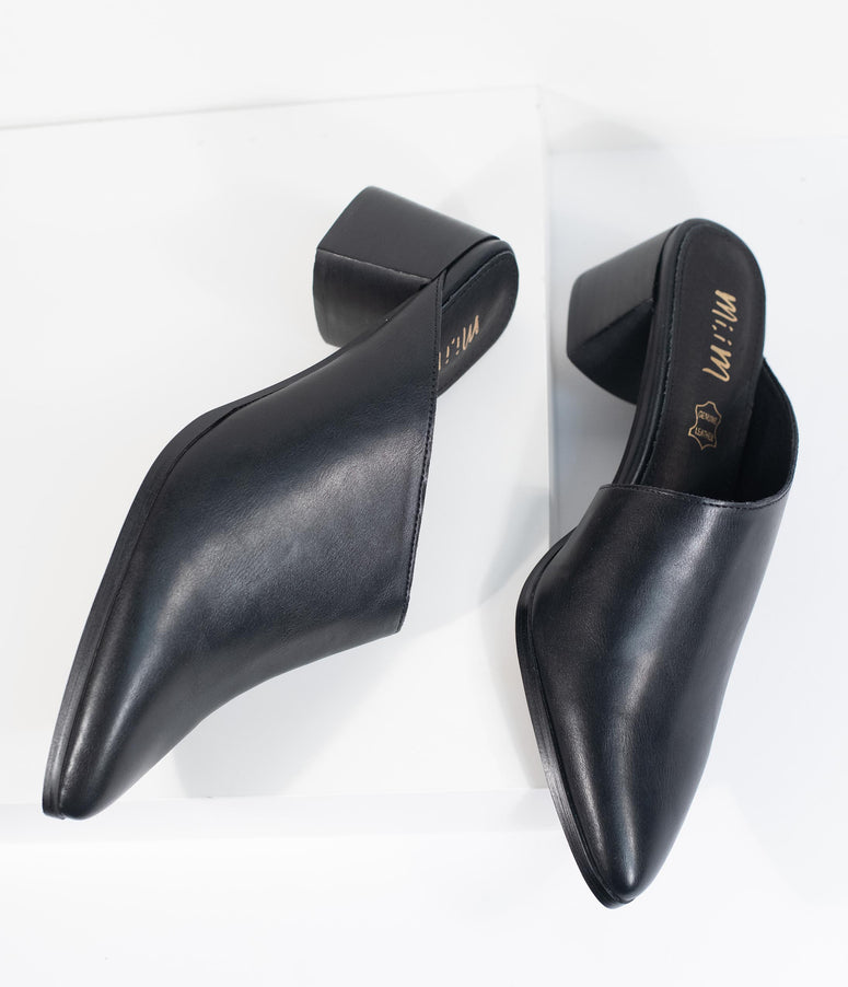 Black Leatherette Asymmetrical Pointed Toe Sabrina Mule