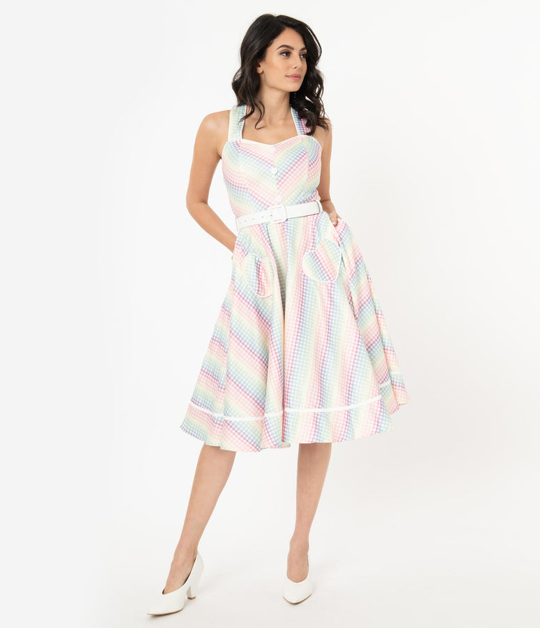 Voodoo Vixen 1950s Rainbow Gingham Swing Dress