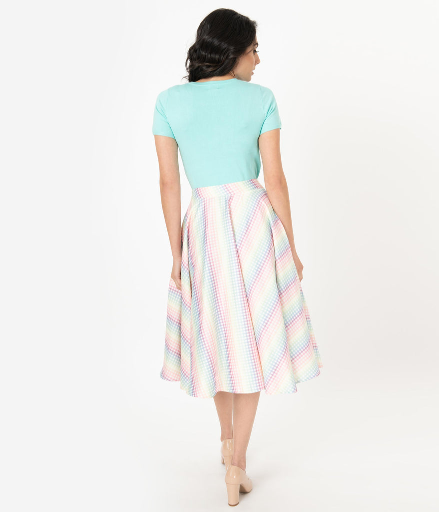 Voodoo Vixen 1950s Rainbow Gingham Swing Skirt