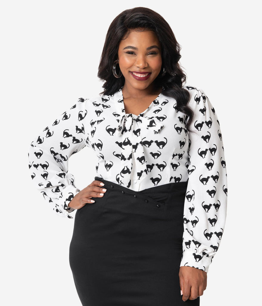Collectif Plus Size Ivory & Black Cat Meooow Print Neck Tie Luiza Blouse