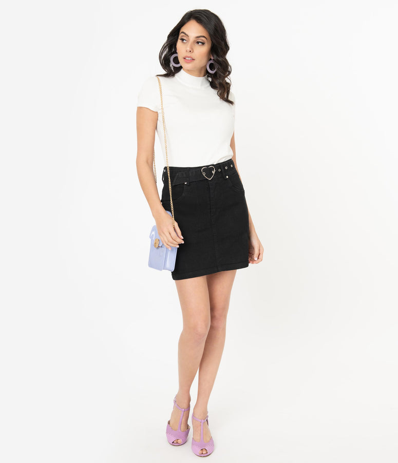 Black Denim Heart Buckle Mini Skirt