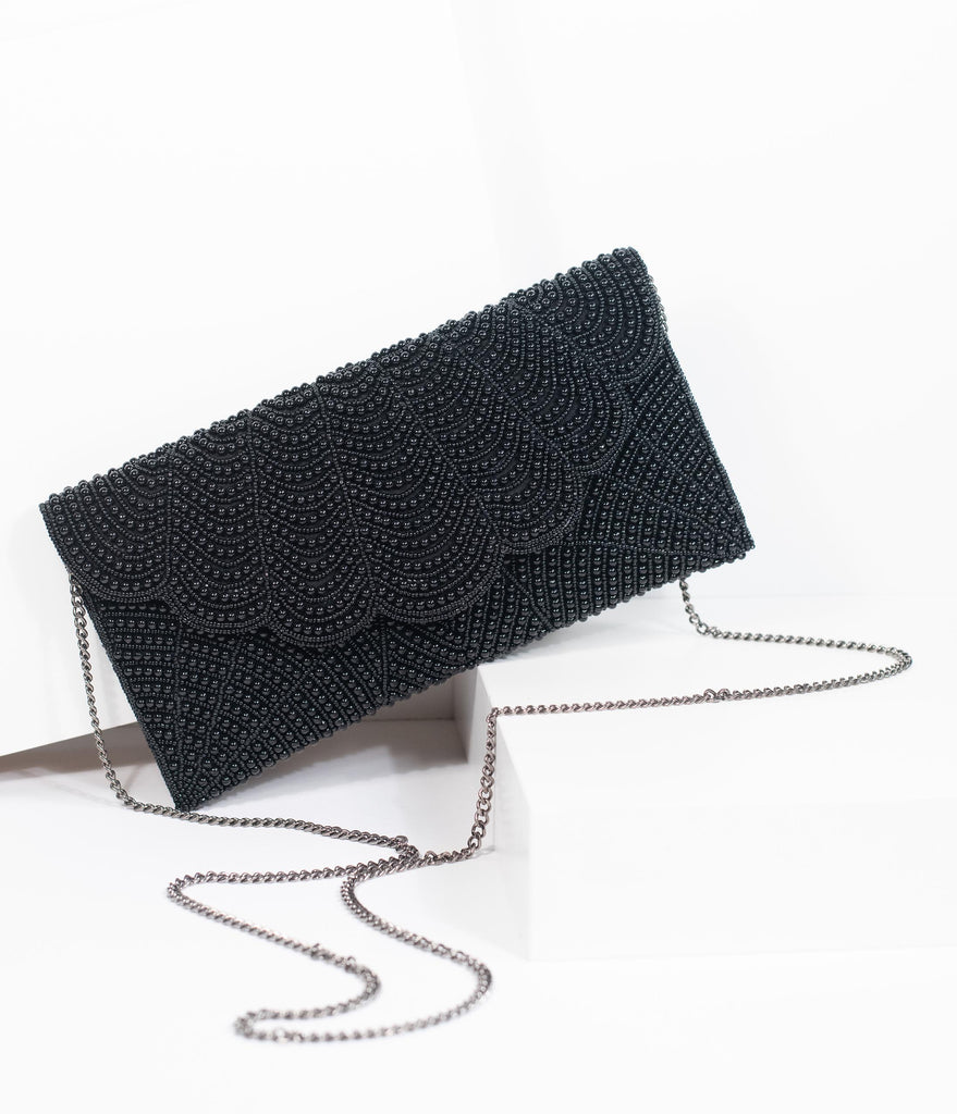 1920s Style Black Beaded Envelope Clutch