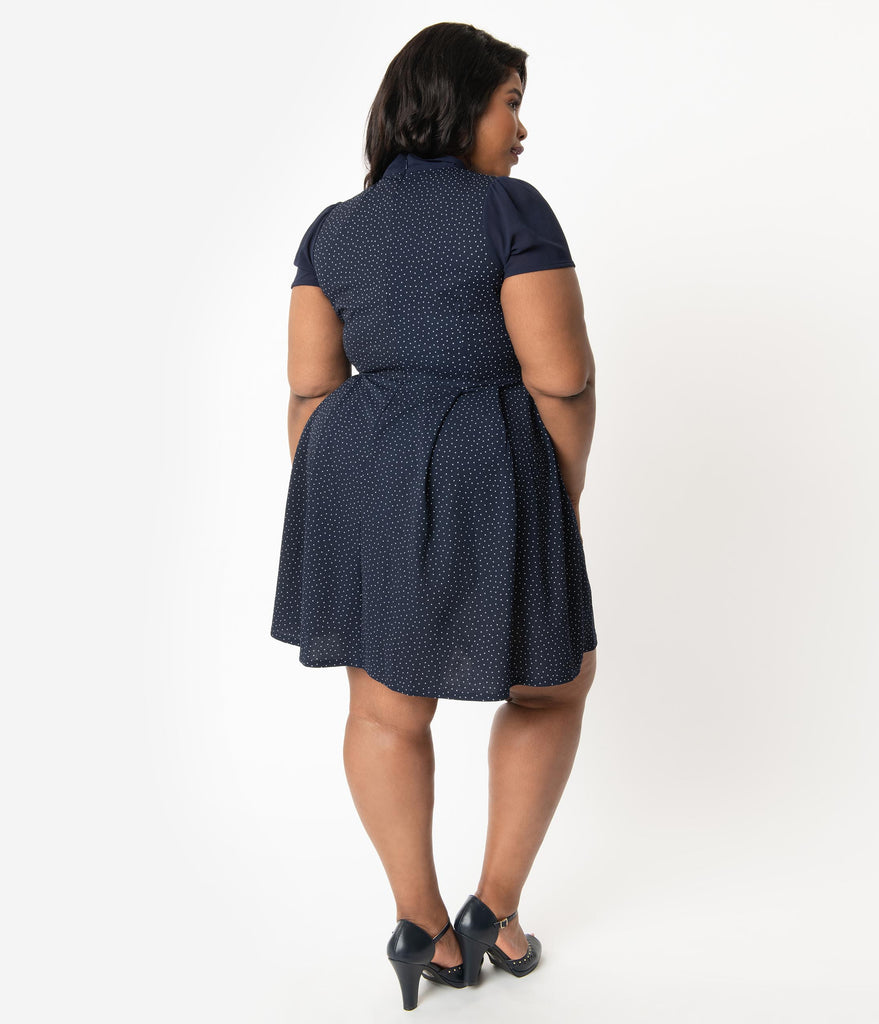 Smak Parlour Plus Size Navy & White Pin Dot Empower Hour Fit & Flare Dress