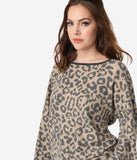 Leopard Print Long Sleeve Lounge Shirt