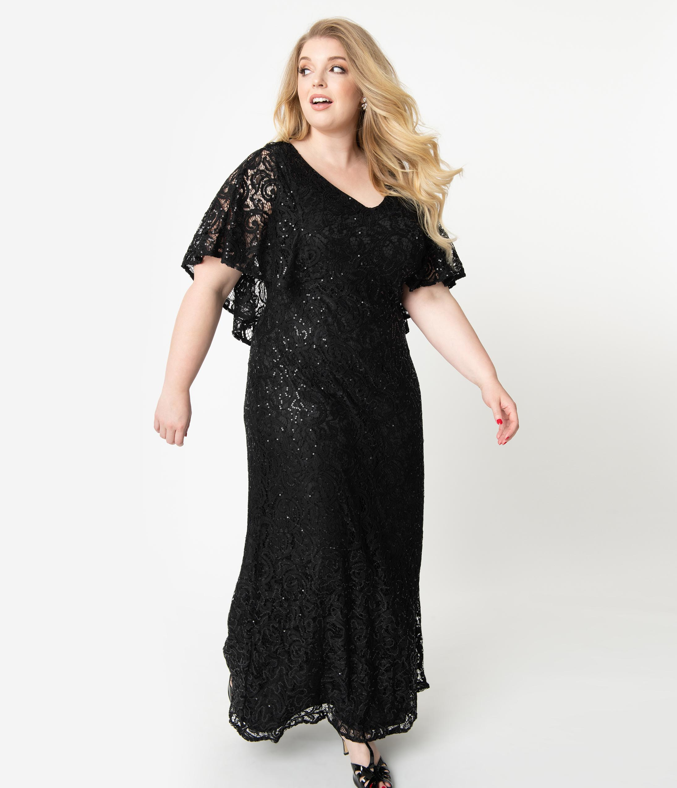 1930s Evening Dresses | Old Hollywood Dress Plus Size Onyx Black Sequin Lace Cape Sleeve Celestial Gown $328.00 AT vintagedancer.com