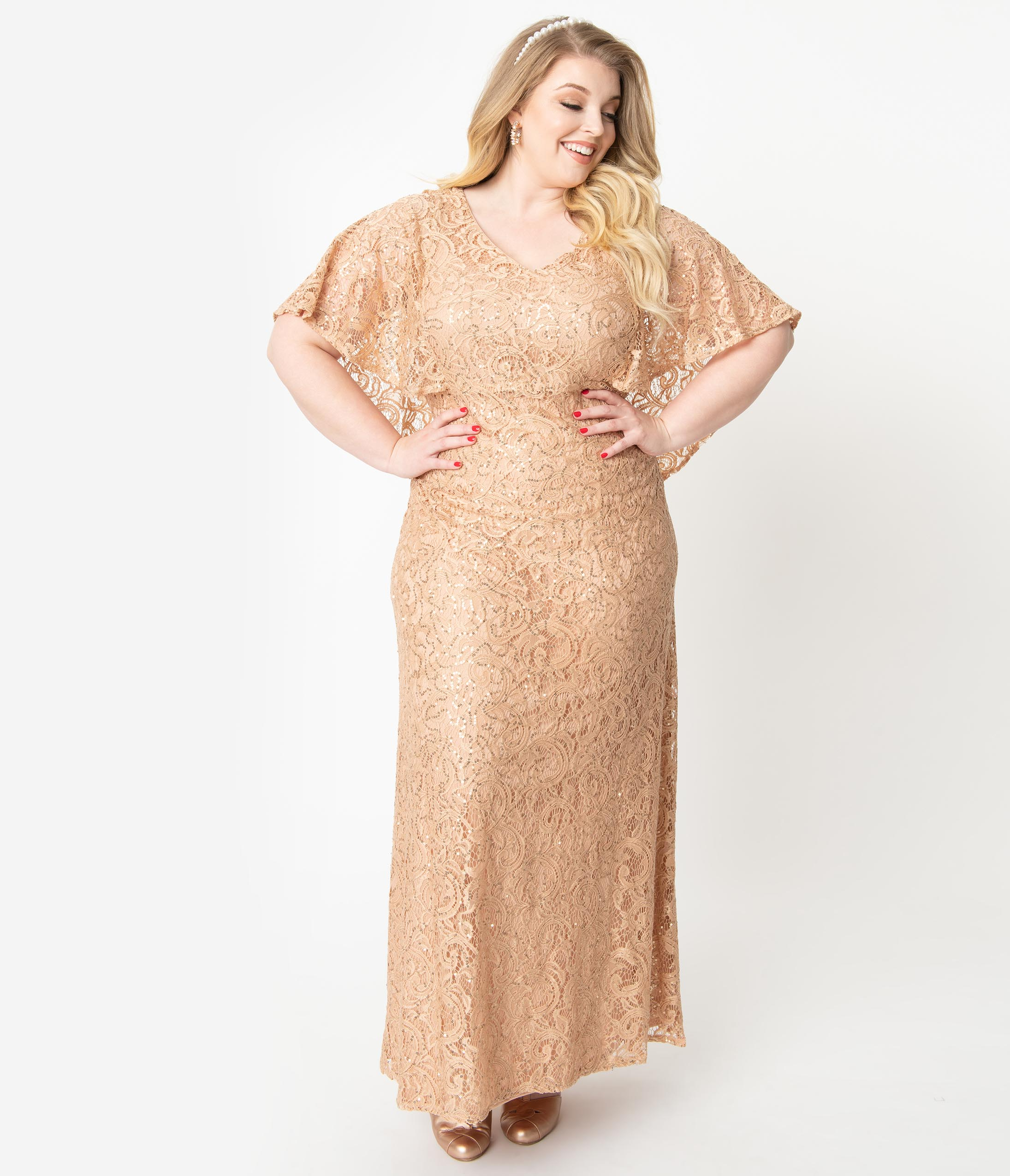 1930s Evening Dresses | Old Hollywood Silver Screen Dresses Plus Size Champagne Sequin Lace Cape Sleeve Celestial Gown $328.00 AT vintagedancer.com