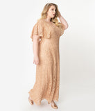 Plus Size Champagne Sequin Lace Cape Sleeve Celestial Gown