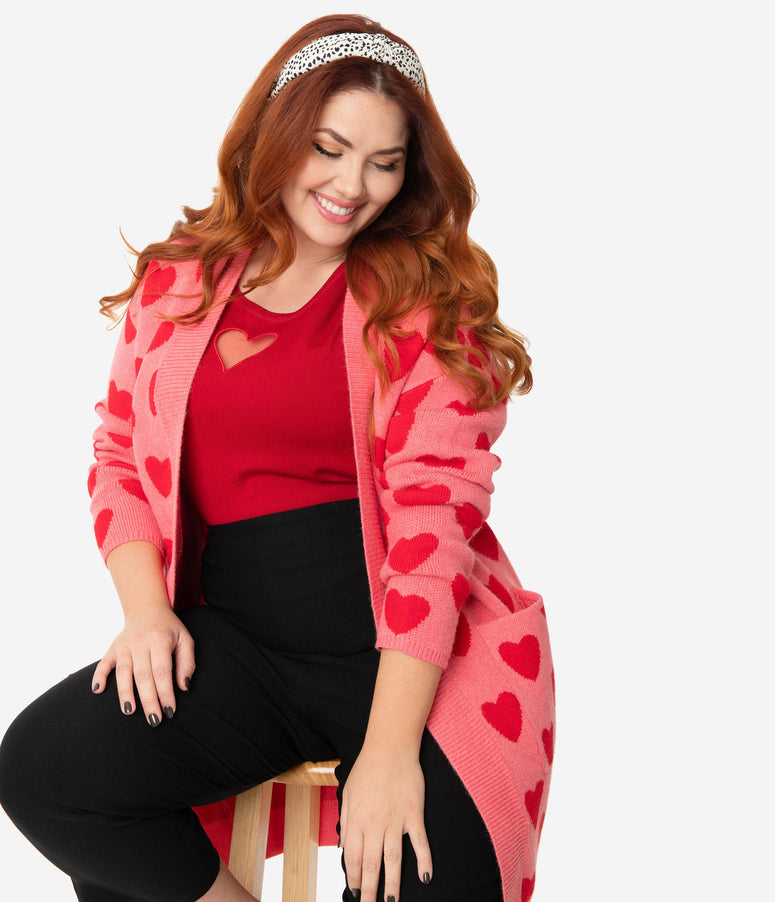 Plus Size Pink & Red Hearts Open Long Cardigan