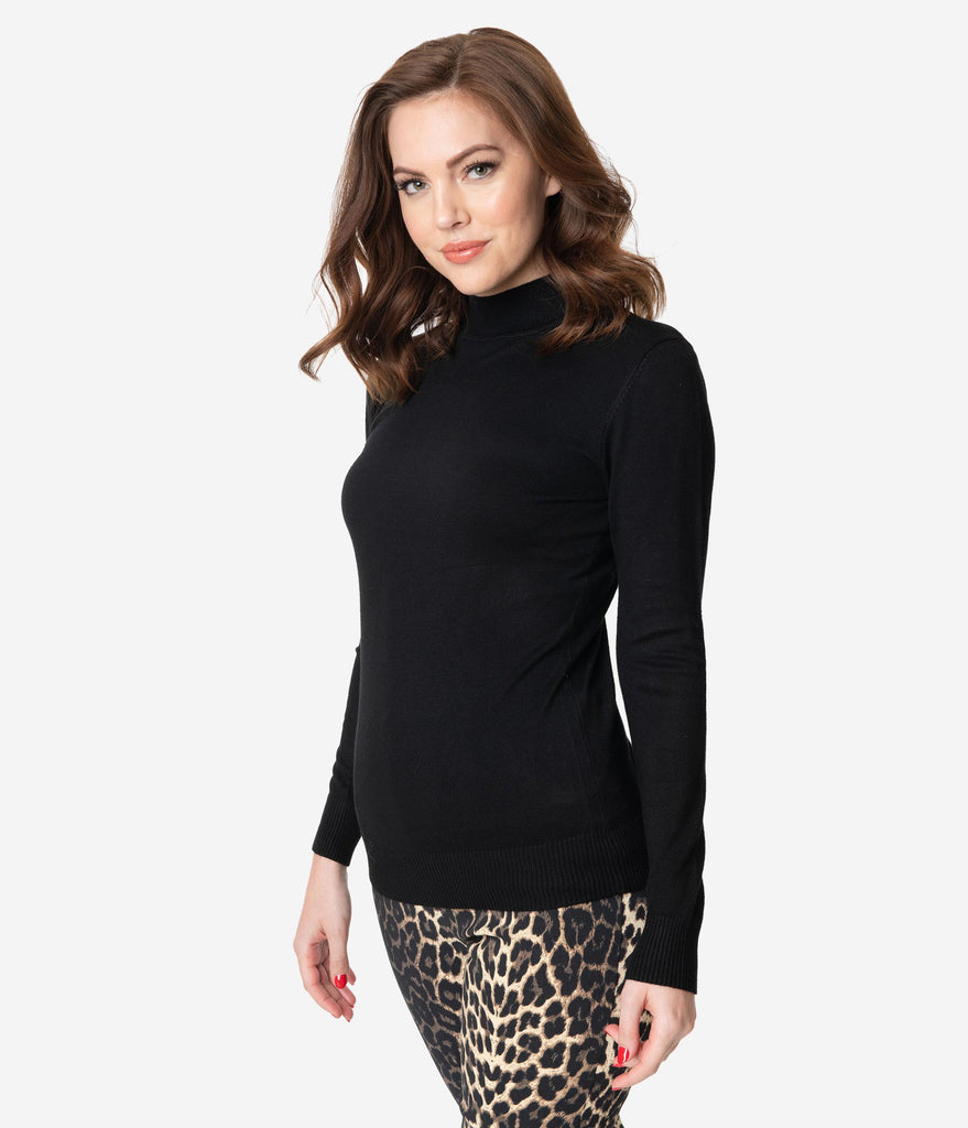 Black Mock Turtleneck Long Sleeve Knit Sweater