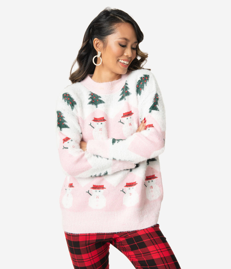 Pink & White Zig Zag Striped Holiday Sweater