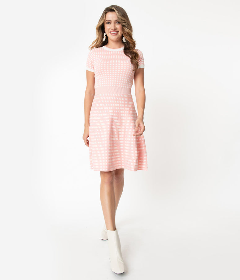 Retro Style Light Pink & White Gingham Fit & Flare Sweater Dress