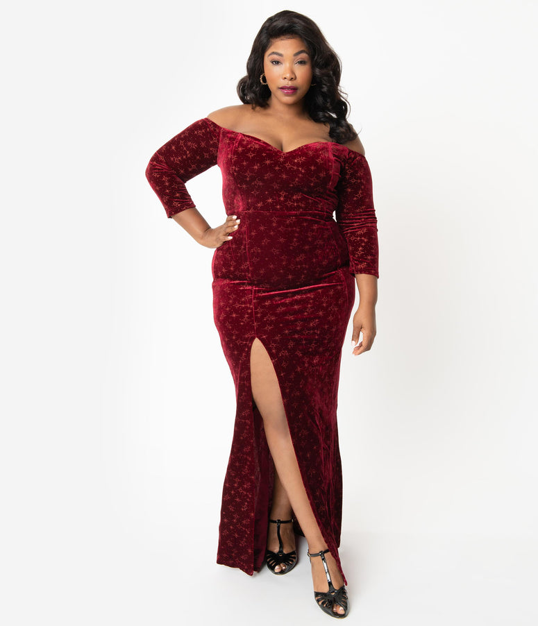 Collectif Plus Size Sparkling Wine Velvet Off Shoulder Anjelica Maxi Dress