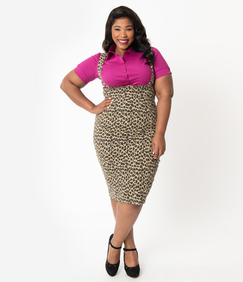 Collectif Plus Size 1970s Leopard Print Dungaree Karen Suspender Pencil Skirt