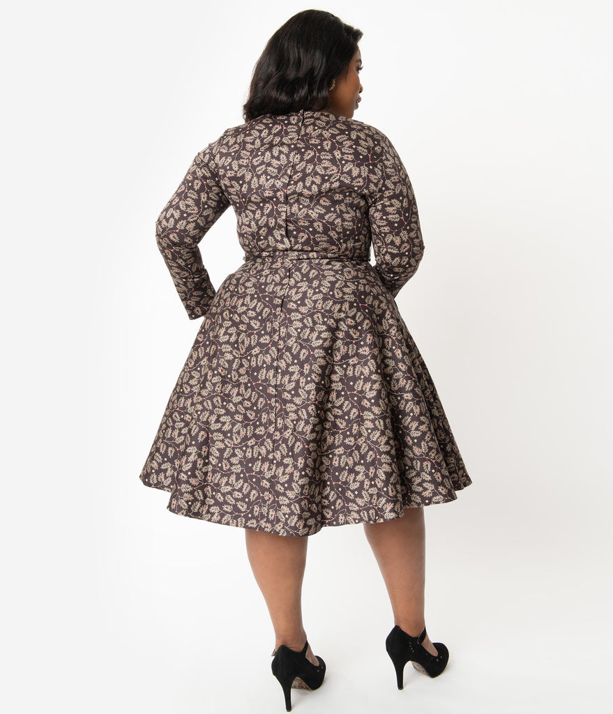 Collectif Plus Size Vintage Brown Autumn Leaves Arwen Swing Dress