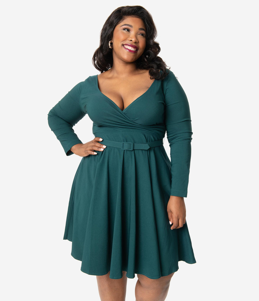 Collectif Plus Size 1950s Style Dark Teal Nicky Doll Swing Dress