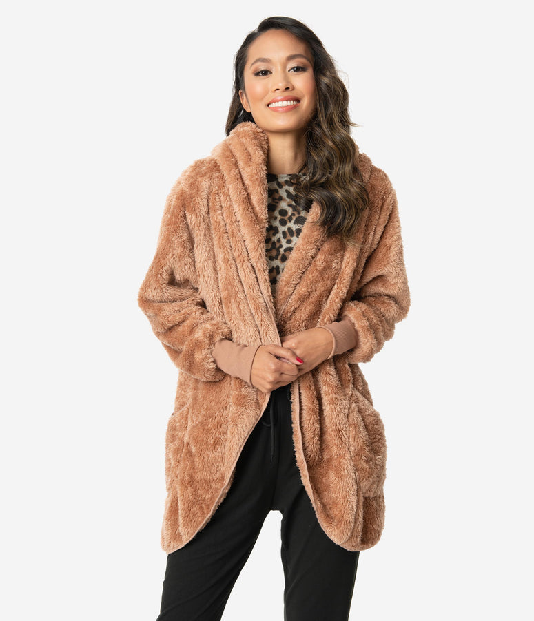 Tan Fuzzy Oversized Open Front Jacket