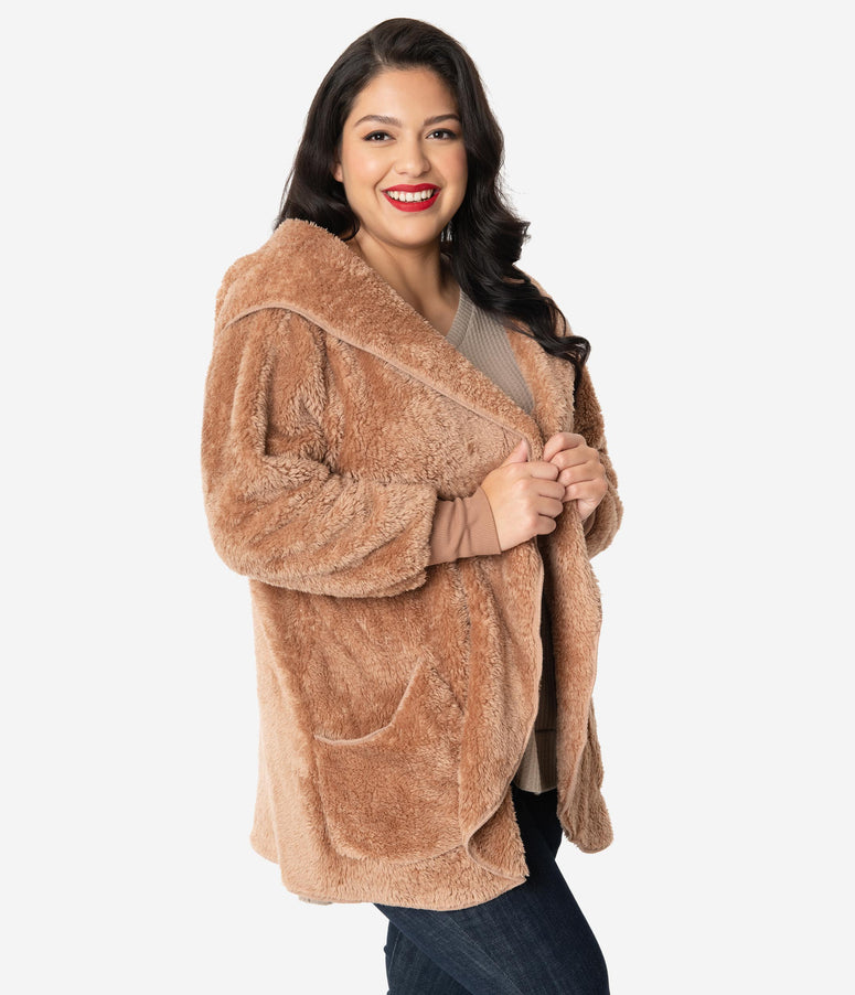 Plus Size Brown Plush Open Coat
