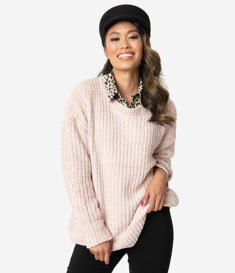 Champagne Chenille Knit Sweater