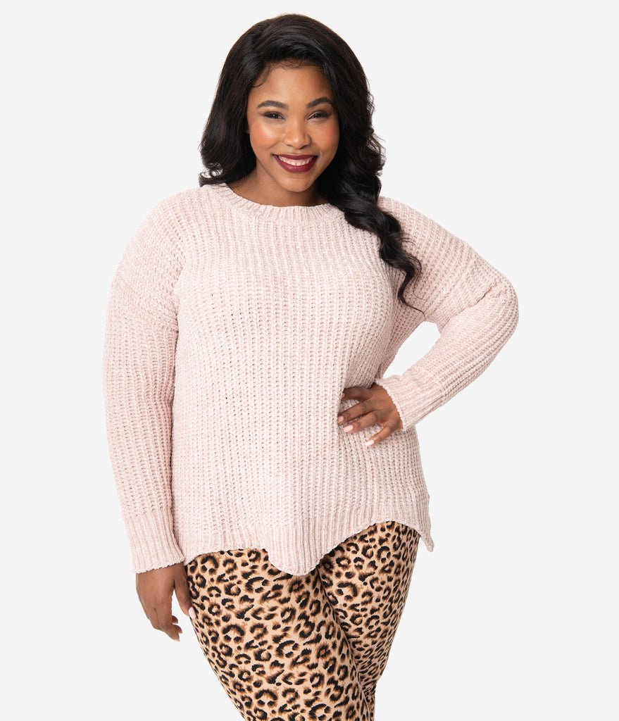 Plus Size Pale Pink Pearl Scallop Knit Sweater
