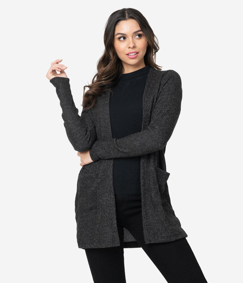 Dark Grey Brushed Open Knit Cardigan