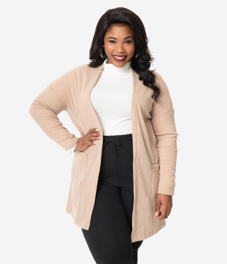 Plus Size Beige Brushed Open Knit Cardigan