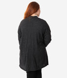 Plus Size Dark Grey Brushed Open Knit Cardigan