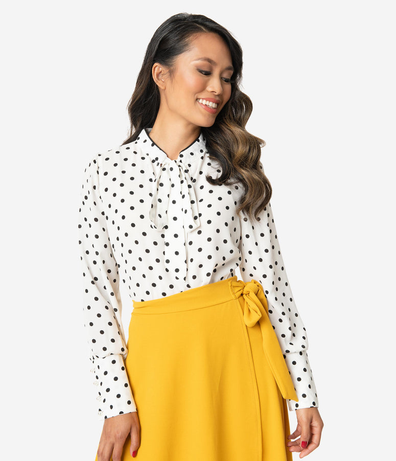 White & Black Polka Dot Neck Tie Blouse