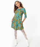 Smak Parlour Groovy Floral Cosmic Shift Dress