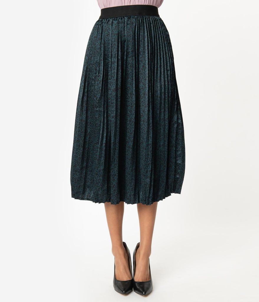 Teal Animal Print Pleated Skirt