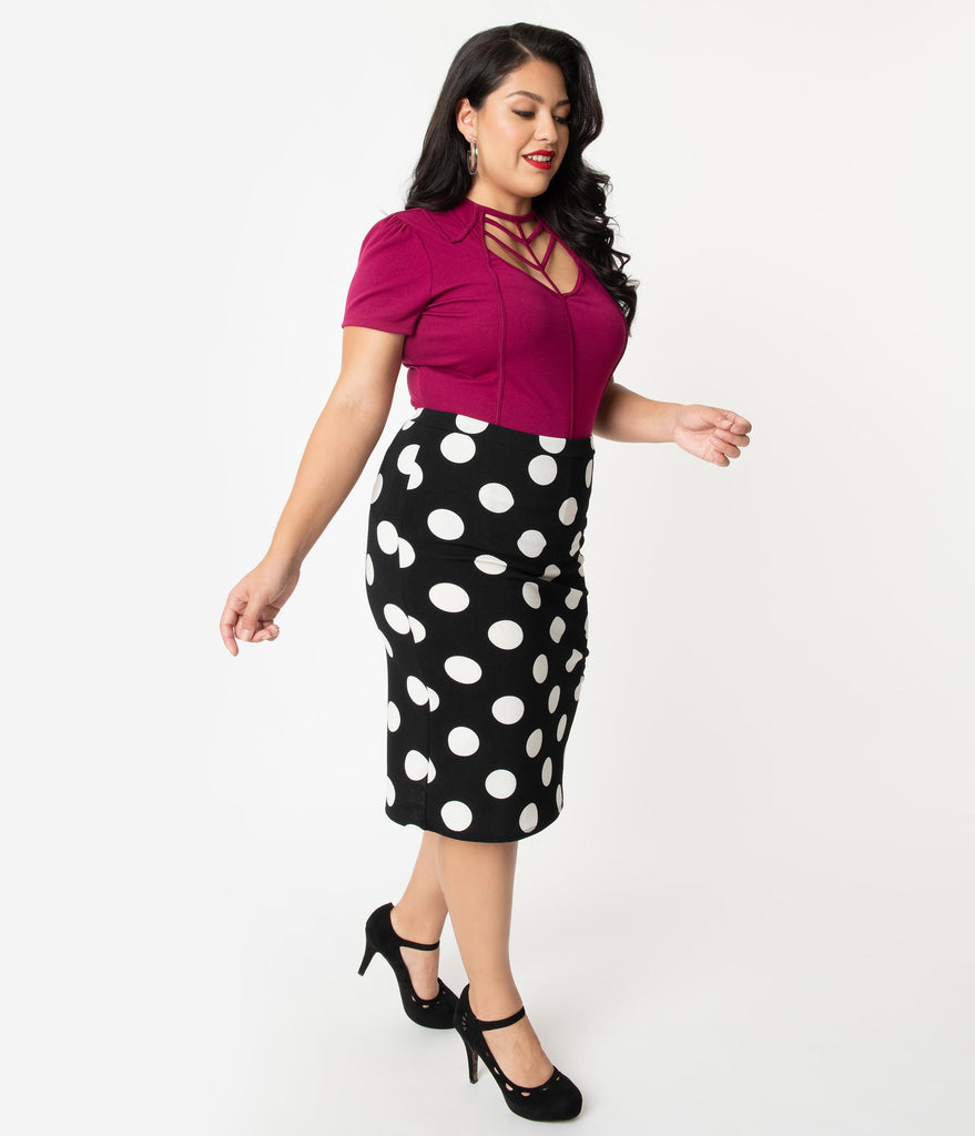 Plus Size Black & White Polka Dot High Waist Wiggle Skirt