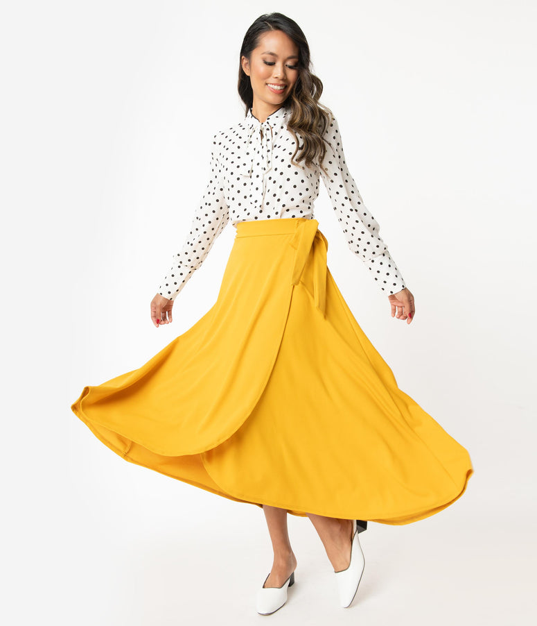 Mustard Faux-Wrap Skirt