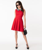Smak Parlour Red & Houndstooth Collar Female Forward Flare Dress