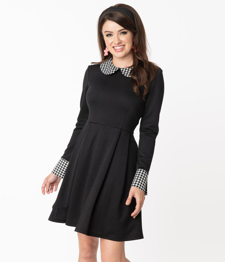 Smak Parlour Black & Houndstooth Collar New A-List Fit & Flare Dress