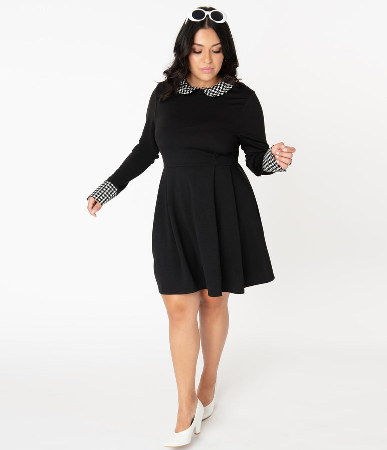 Smak Parlour Plus Size Black & Houndstooth Collar New A-List Fit & Flare Dress