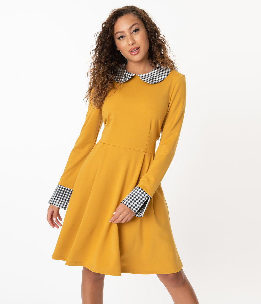 Smak Parlour Mustard & Houndstooth Collar New A-List Fit & Flare Dress