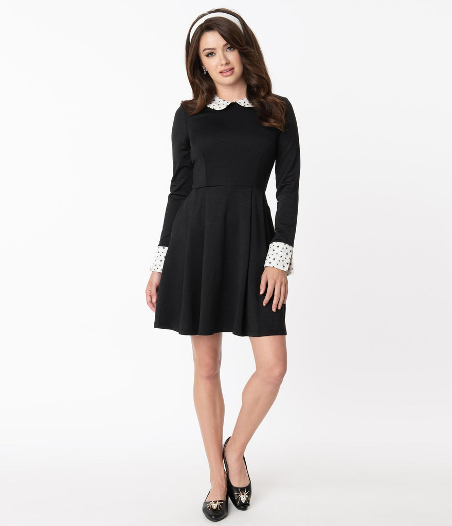 Smak Parlour Black & Spider Print Collar New A-List Fit & Flare Dress