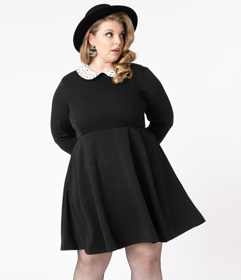 Smak Parlour Plus Size Black & Spider Print Collar New A-List Fit & Flare Dress