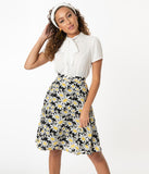 Smak Parlour Black & White Daisy Print Seek Greatness Flare Skirt