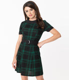 Smak Parlour 1960s Black & Emerald Plaid Belted Show Stealer Dress
