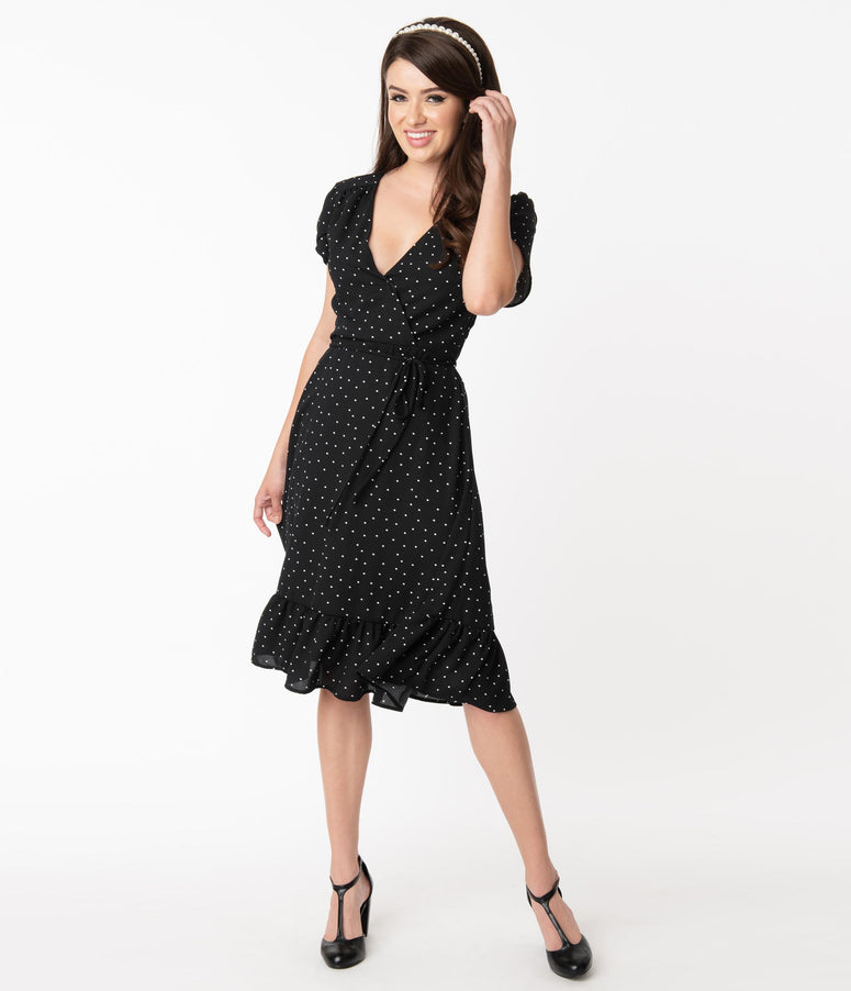 Daily Deal! Smak Parlour Black & White Pin Dot Hide And Go Chic Midi Dress
