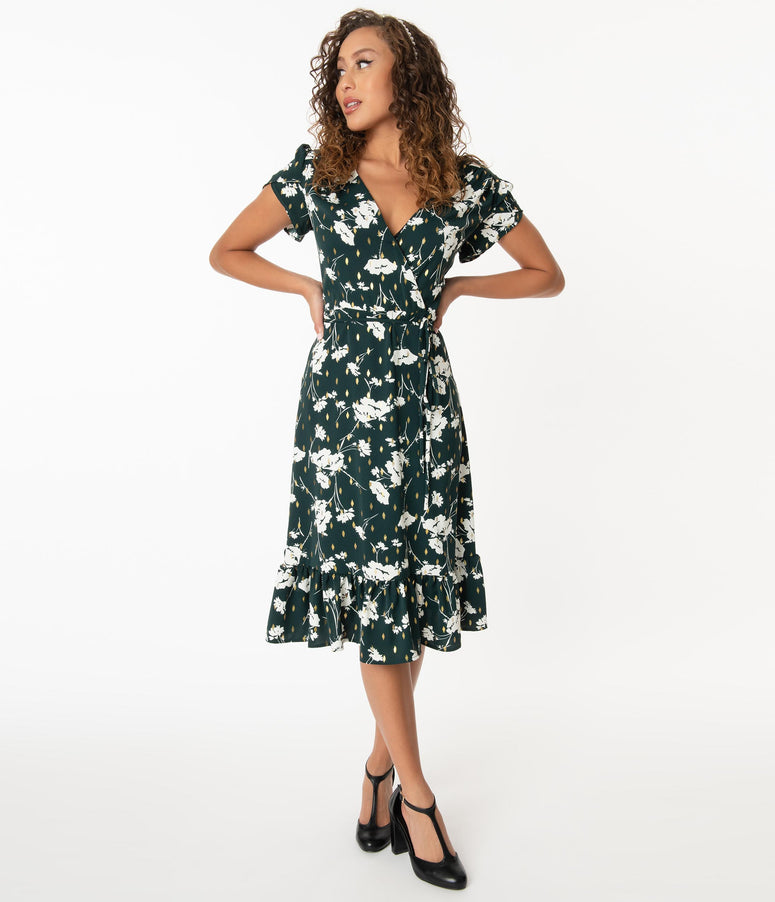 Daily Deal! Smak Parlour Hunter Green & White Floral Hide And Go Chic Midi Dress