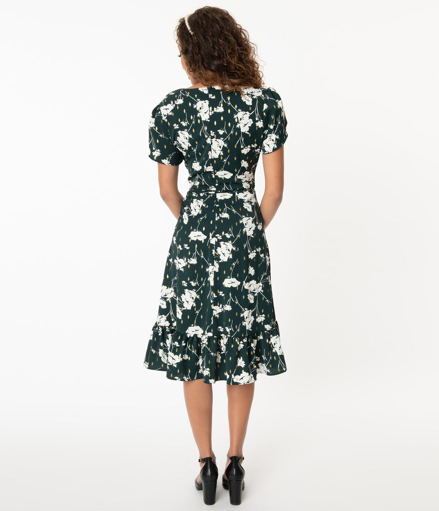 Smak Parlour Hunter Green & White Floral Hide And Go Chic Midi Dress