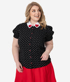 Hell Bunny Plus Size Black & White Hearts Print Allie Blouse