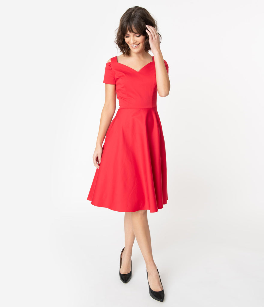 Hell Bunny 1950s Red Helen Swing Dress