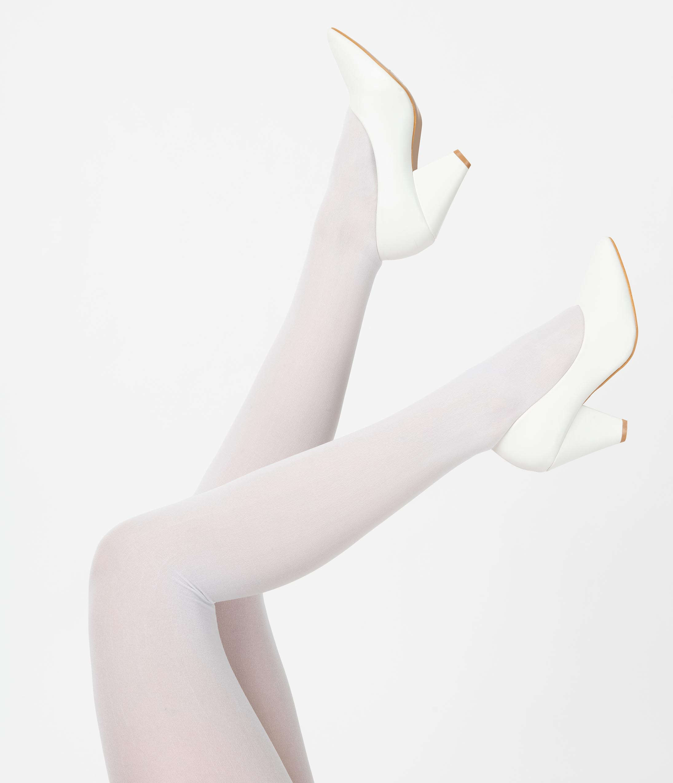 1920s Style Stockings, Tights, Fishnets & Socks White Nylon Opaque Tights $14.00 AT vintagedancer.com