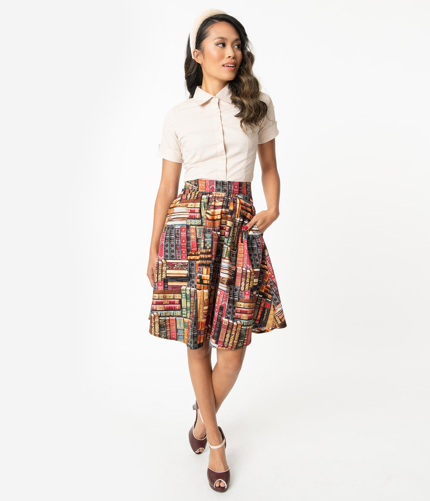 Retrolicious Dont Judge a Book by its Cover Swing Skirt