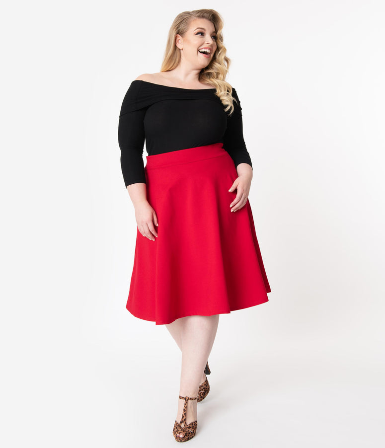 Retrolicious Plus Size 1950s Style Red Knit High Waist Charlotte Swing Skirt