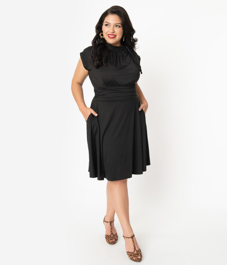 Retrolicious Plus Size Black Bombshell Swing Dress